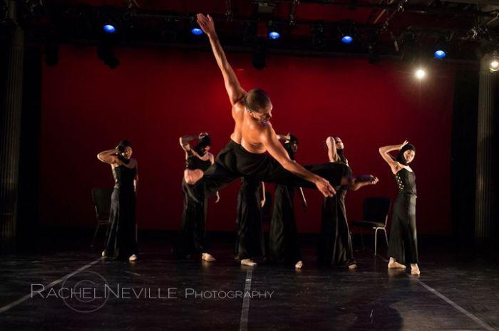 male dancer jumping back exposed latin choreographers festival photo rachel neville
