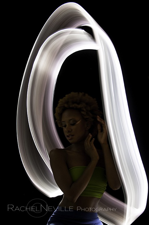 dancer neon green tube top white ribbon floating