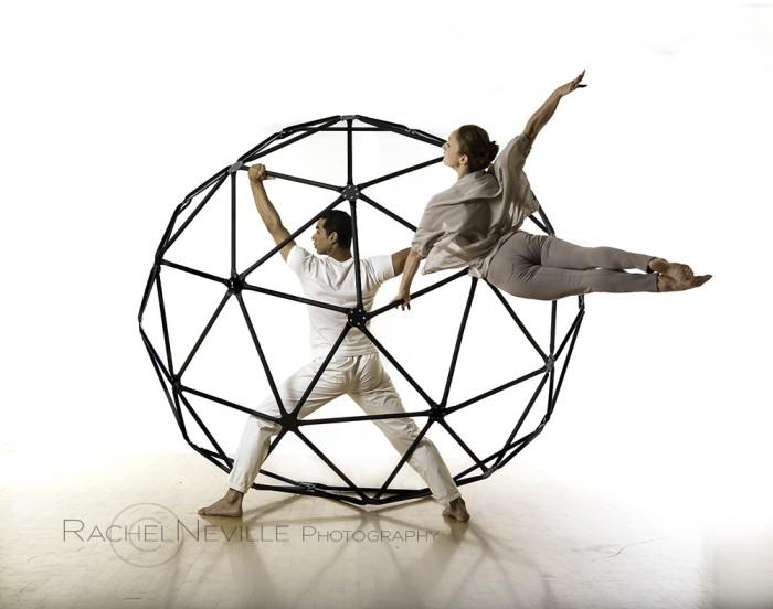 female dancer male dancer jungle gym janusphere Rachel Neville Photography