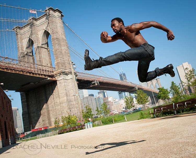 outdoor photo shoots dancer brooklyn bridge male dancer jumping