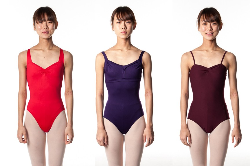 yumiko bodywrappers red purple wine leotards thin straps and off shoulder leotards