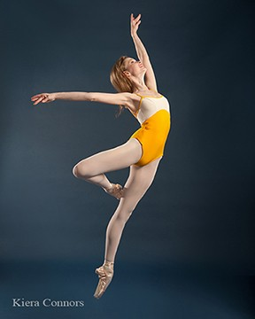 yellow white color block leotard Rachel Neville Photography