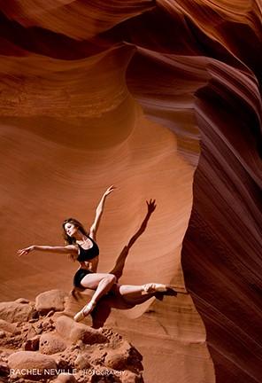 canyon photos dancer in canyon black two piece leotard