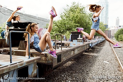 dancers jump into summer pink sneakers overalls photo nyc dance photographer rachel neville