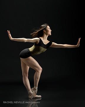 Rachel Neville photographer modern look black mesh leotard classic pointe show