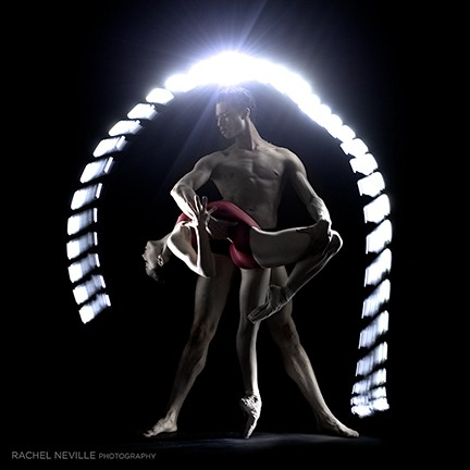 dance concept shots light pas de deux red leotard pointe shoe