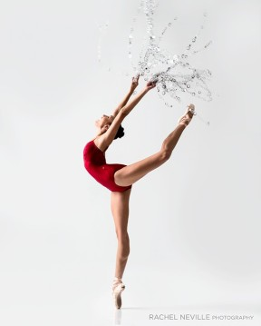 red spagetti strap leotard audition photo with water effect rachel neville dance photographer nyc