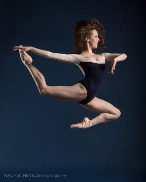 dancer modern red hair color block leotard navy cream photo rachel neville