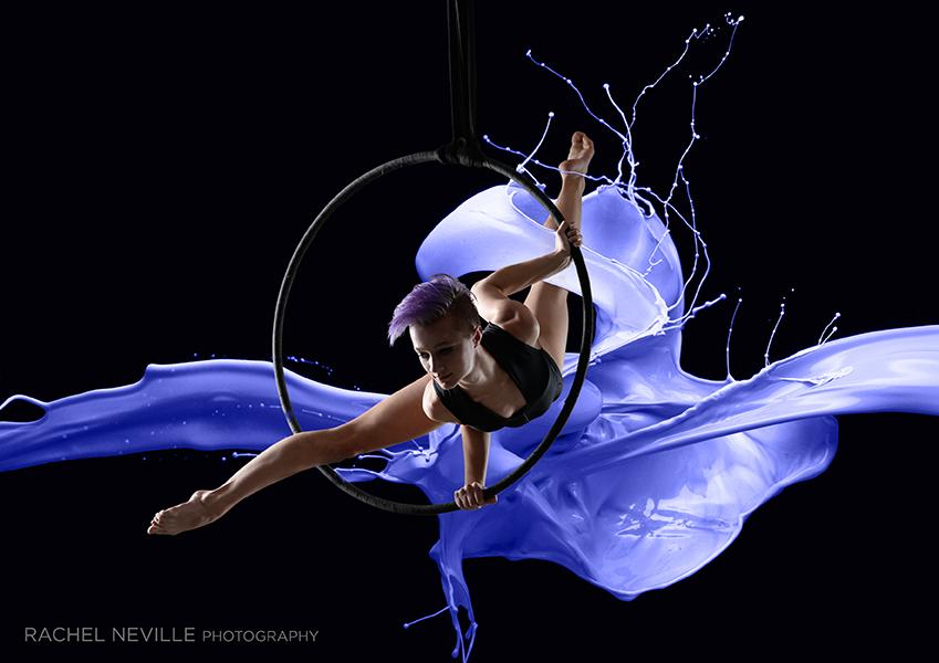blue paint splash hoop power dancer concept photography dance rachel neville nyc rachel neville photography