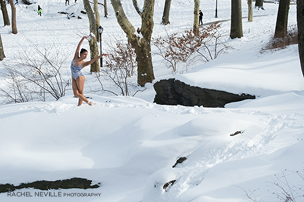 ice blue leotard bare feet snow