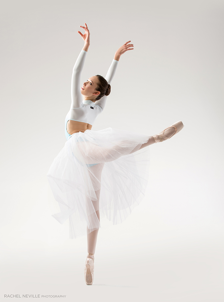 contemporary white tulle with crop top dance audition photos