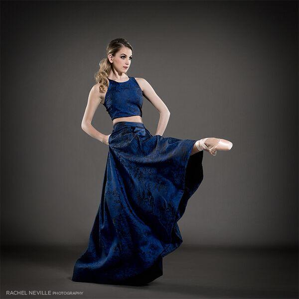 blue crop top gown 2015