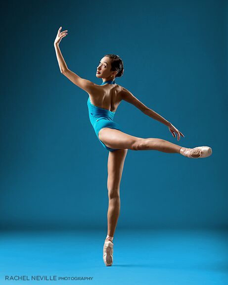 rachel neville dance photographer nyc blue leotard no tights pointe shoes