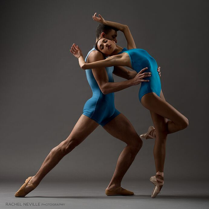 couple dancing contemporary ballet blue unitards matching