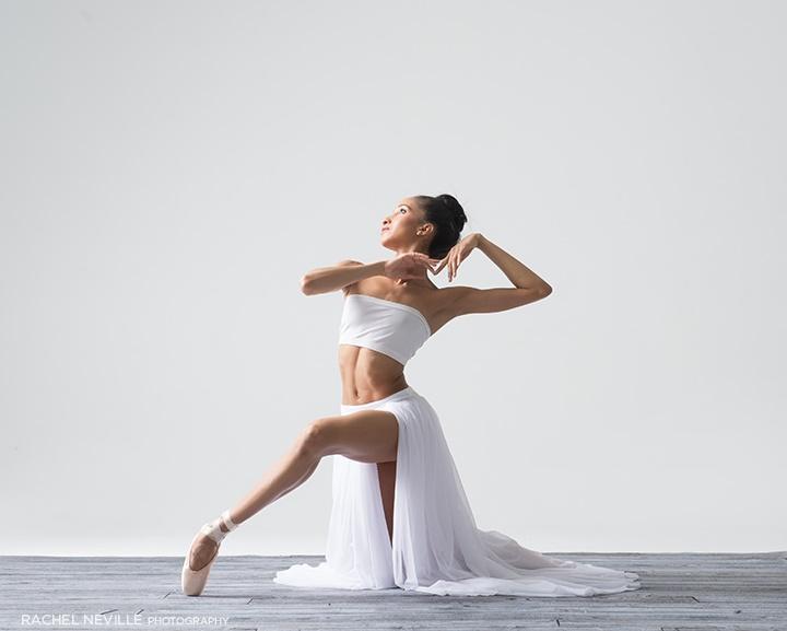 white gauze sheer split ballet skirt