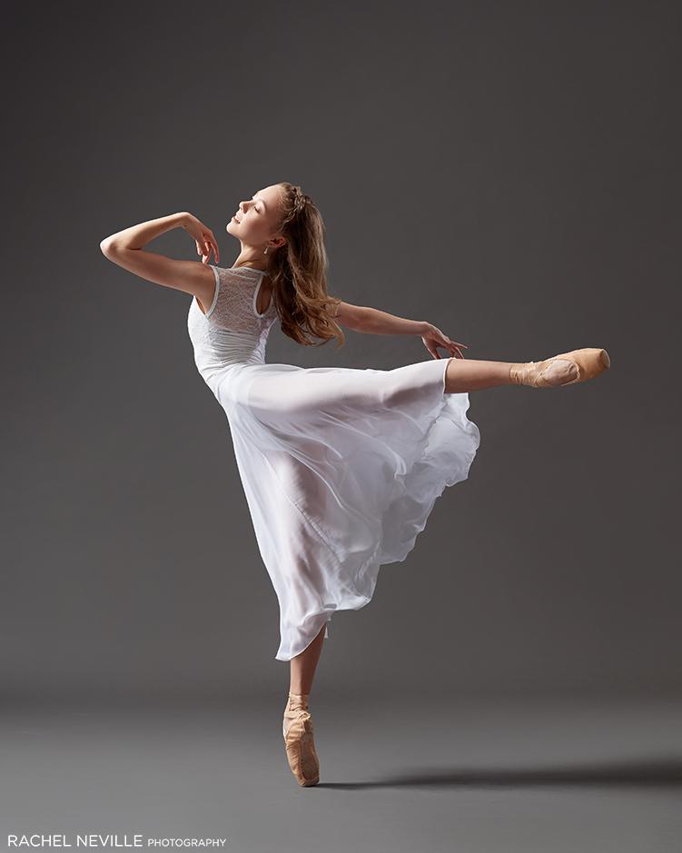 white flowing long ballet skirt long hair dancer rachel neville photography